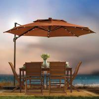 11-Foot Round Solar Cantilever Umbrella - Bed Bath & Beyond