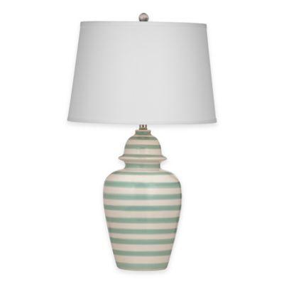 Bassett Mirror Company Sawyer Table Lamp in Aqua/White
