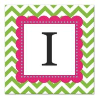 Green And Pink Chevron Letter Canvas Wall Art - Bed Bath ...