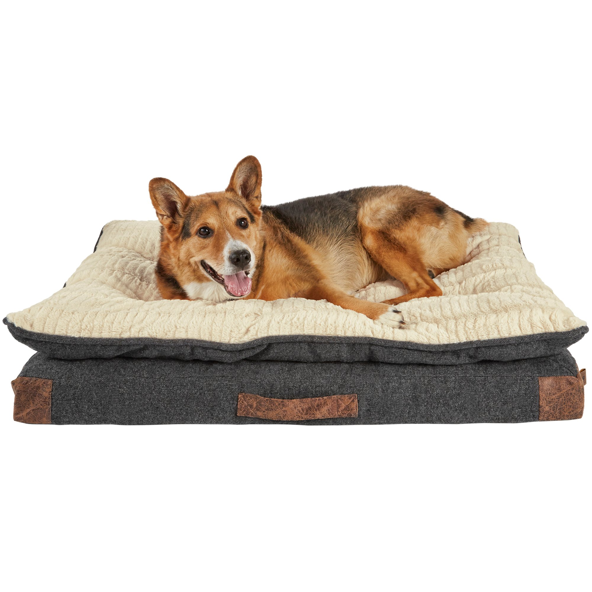Dog Beds Pet Harmony Grey Patched Pillowtop Lounger Orthopedic Dog Bed Petco