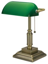 Realspace Traditional Bankers Lamp 14 34 H Antique Brass ...