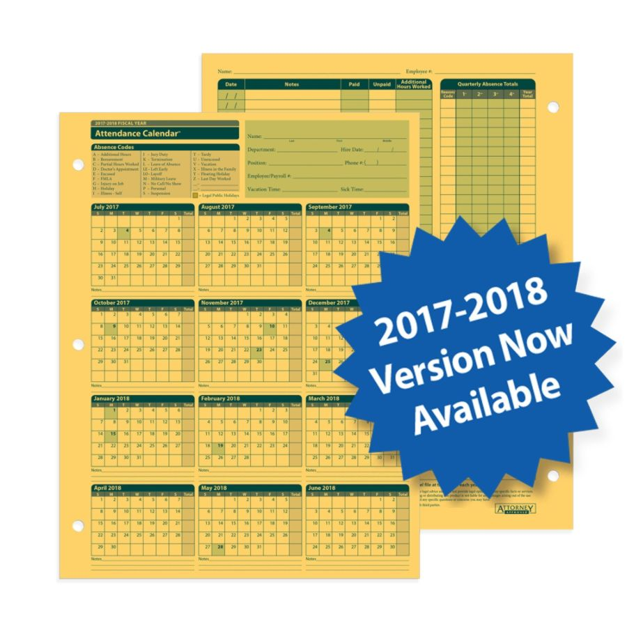 Attendance Calendar Excel Templates Complyright 2017 2018 Fiscal Attendance Calendar 8 12 X 11