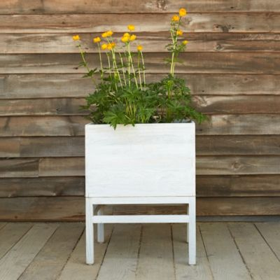 Elevated Plant Stands Raised Teak Cube Plant Stand Terrain
