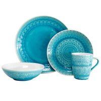 Euro Ceramica Fez 16-Piece Dinnerware Set in Turquoise ...