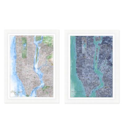 New York City Map Watercolor Wall Art