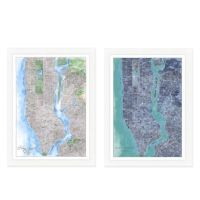 New York City Map Watercolor Wall Art - Bed Bath & Beyond