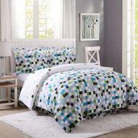 Pixel Comforter Set in Green/Grey - Bed Bath & Beyond