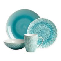 Euro Ceramica Peacock 16-Piece Dinnerware Set in Turquoise ...