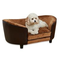 Snuggle Velvet and Faux Leather Large Dog Bed in Pebble ...