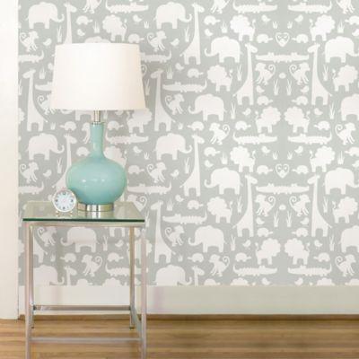 WallPops!® NuWallpaper™ It's A Jungle Peel & Stick Wallpaper in Grey - Bed Bath & Beyond