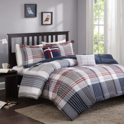 Cozy Soft® Caleb Comforter Set in Grey/Navy/Red - Bed Bath & Beyond
