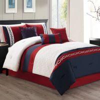 Ozias 7-Piece Comforter Set in Red/Navy - Bed Bath & Beyond