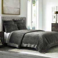 Wamsutta Collection Velvet Coverlet in Grey - Bed Bath ...