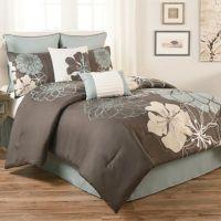 Terra Floral 8-Piece Comforter Set in Blue/Grey - Bed Bath ...