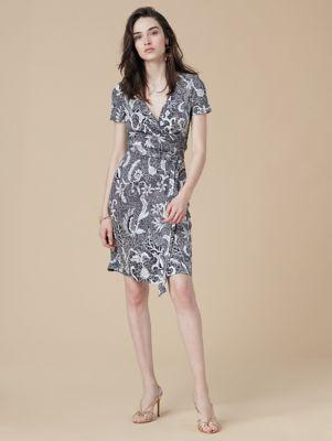 new julian short sleeve wrap dress in serret black by dvf