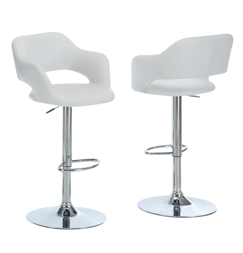 2 Tabourets De Bar Avec Accoudoirs Recourbés En Simili Cuir Tabouret De Bar Blanc Metal Chrome Hydraulique