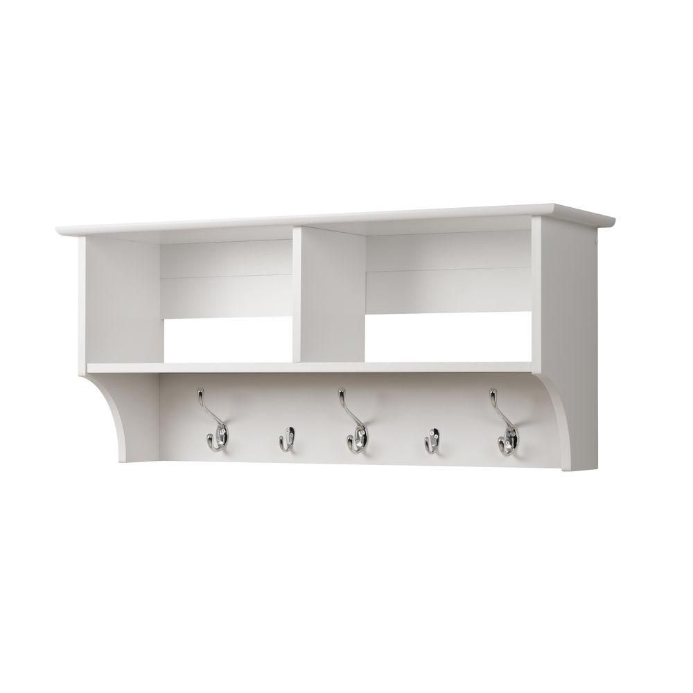 Prepac White 36 Inch Wide Hanging Entryway Shelf The