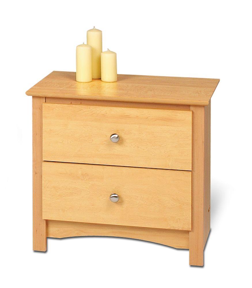 Prepac Maple Sonoma 2 Drawer Nightstand