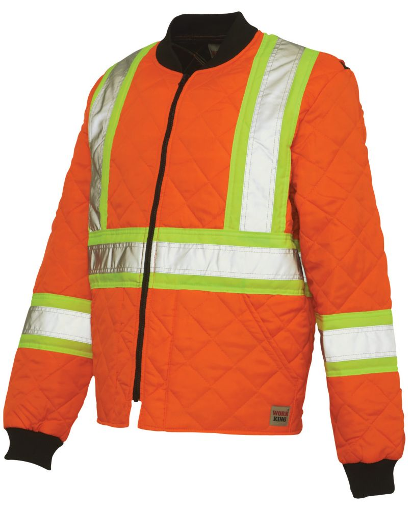 Work King Freezer Jacket Quilted Safety Jacket With Stripes Fluorescent Orange Large