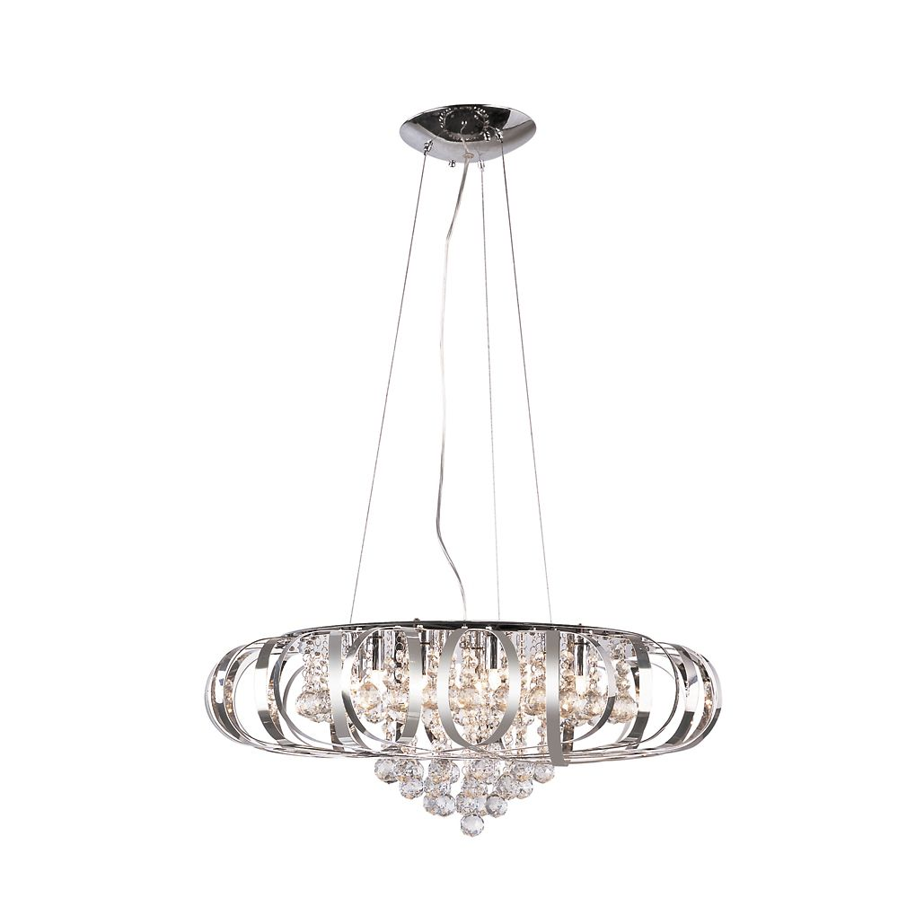 Suspension Contemporaine Suspension Contemporaine Chrome Et Cristal 63 50 Cm 25 Po