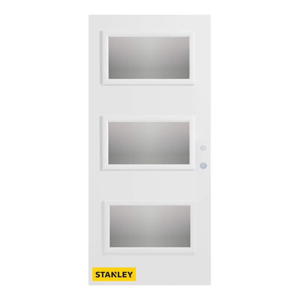 Fenplast Windows Review 35 375 Inch X 82 375 Inch Dorothy 3 Lite Delta Satin Prefinished White Left Hand Inswing Steel Prehung Front Door Energy Star