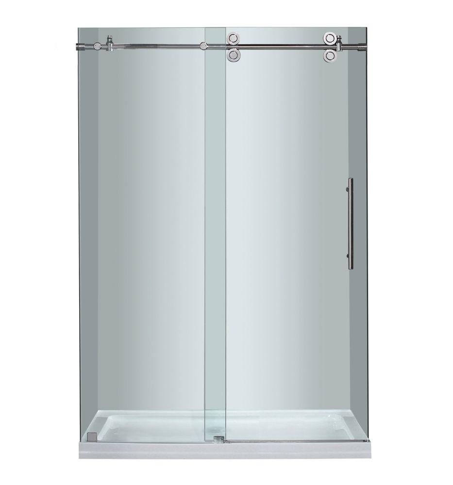 Aston 48 Inch x 77.5 Inch Frameless Sliding Shower Door in