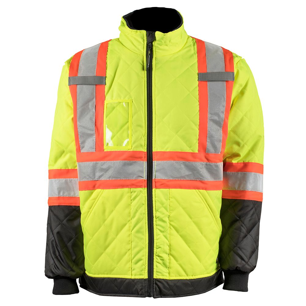 Work King Freezer Jacket Hi Vis Quilted Freezer Jacket With Rflt Band Yellow Sz S