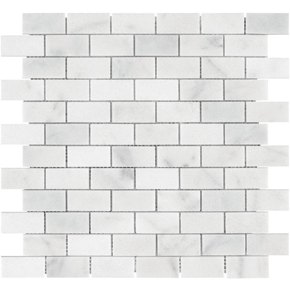 Brick Meubles Jardin Enigma Carrara Mini Brick 1 Inch X 2 Inch Polished Marble