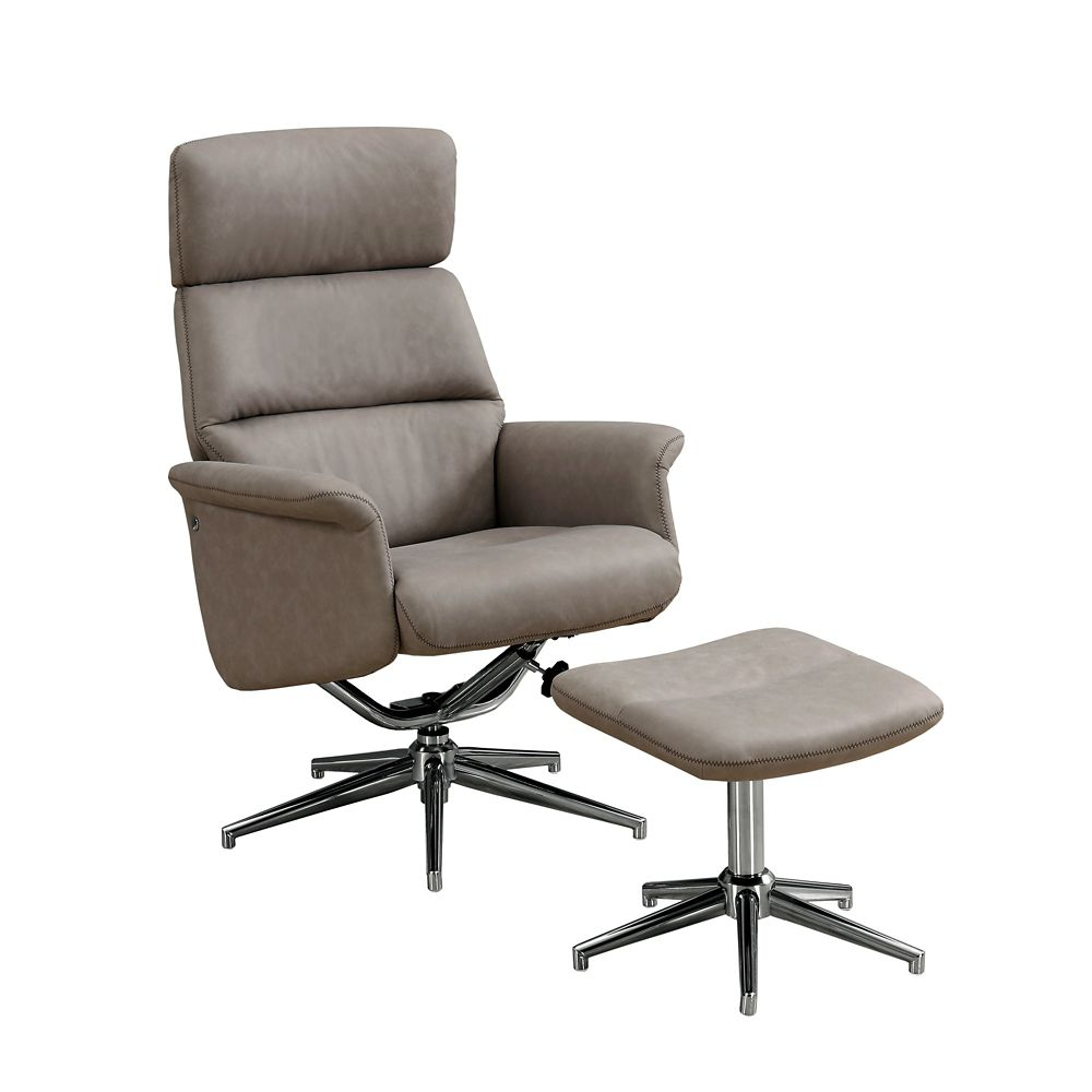 Accent Meuble Fauteuil Inclinable Fauteuil Inclinable 2pcs Pivot Taupe Tete Ajustable