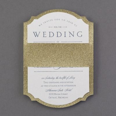 weddinginvitationnews blogspot hallmark wedding invitations gold glitter backer wedding invitation with white top card printed with wording