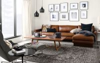 Hess Sofa with Chaise in Lecco Leather - Modern Living ...