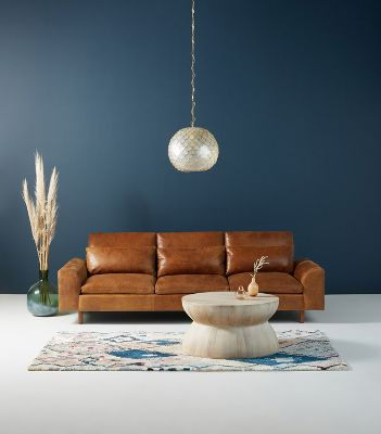 Mirren Three Cushion Leather Sofa Anthropologie