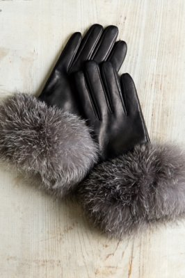 Fur Womens Women S Bellis Cashmere Lined Lambskin Leather Gloves With Fox Fur Trim