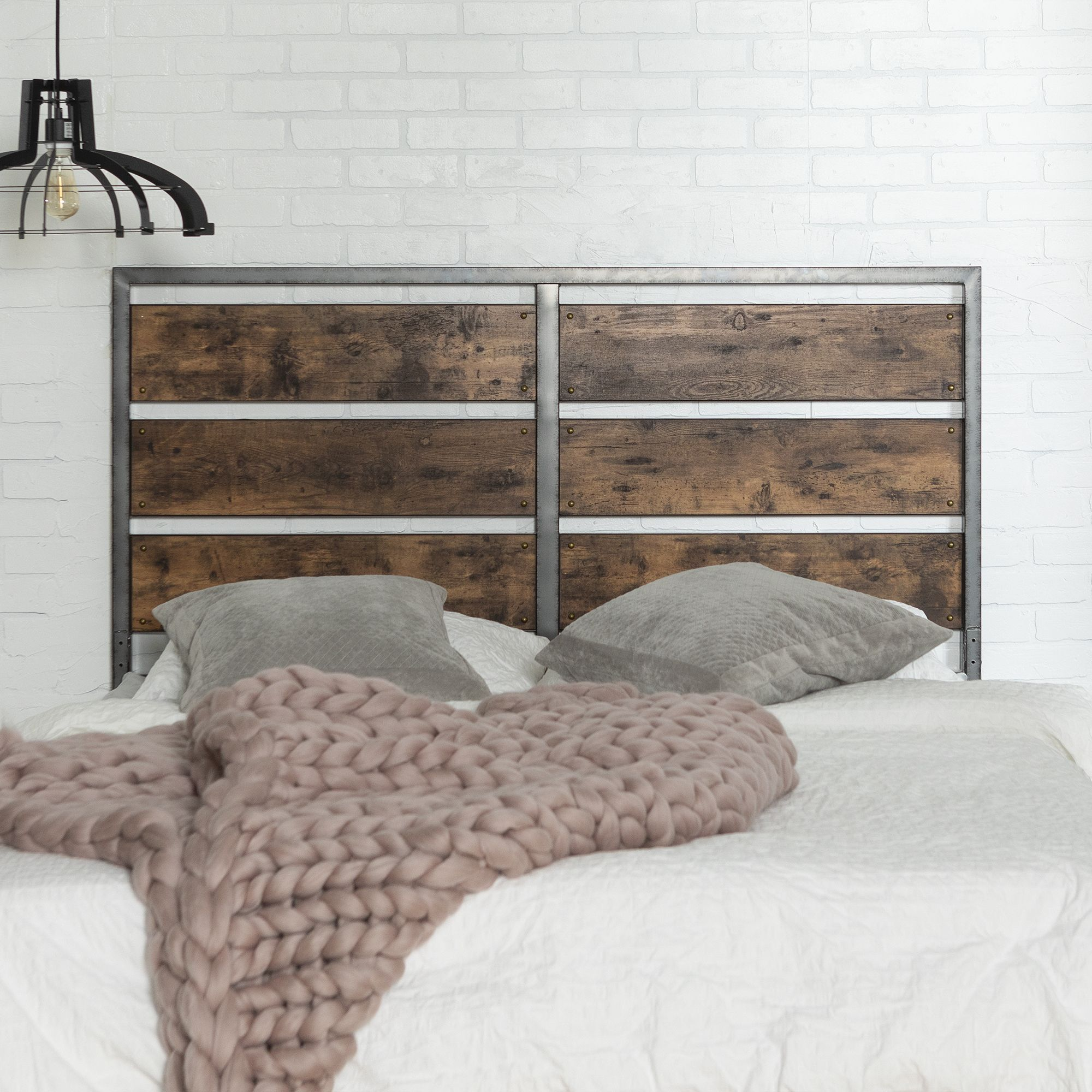 W Trendsw Trends Industrial Queen Size Wood Metal Panel Headboard Brown Dailymail