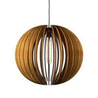 Modern 1-Light Laser Cut Wood Globe Pendant in Walnut ...