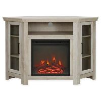 Walker Edison Wood Corner Fireplace TV Console - Bed Bath ...