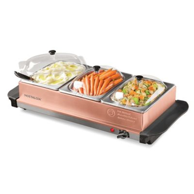 Nostalgia™ Electrics 3-Station Buffet Server & Warming Tray in Copper - Bed Bath & Beyond