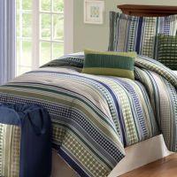 Stipple Stripe Green Comforter Set - Bed Bath & Beyond