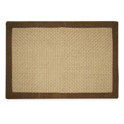 Jute Basketweave 2 Foot X 3 Foot Accent Rug With Chenille
