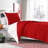 Micro Splendor White/Red Reversible Comforter Set - Bed ...