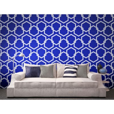 Tempaper® Removable Wallpaper in Honeycomb Metallic Blue - Bed Bath & Beyond