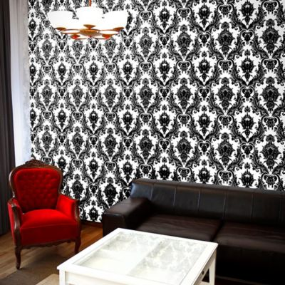 Tempaper® Removable Wallpaper in Damsel White and Black - Bed Bath & Beyond
