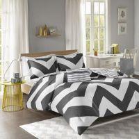 Libra Reversible Chevron Comforter Set in Black/White