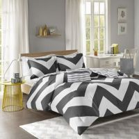 Libra Reversible Chevron Comforter Set in Black/White ...