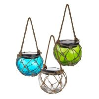 Solar-Powered Glass Hanging Buoy Lantern Light - Bed Bath ...