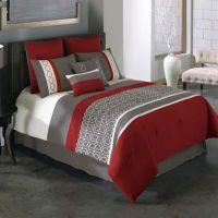 Covington 8-Piece Comforter Set in Red/Grey - Bed Bath ...