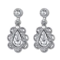 Buy Downton Abbey Silvertone Crystal Scalloped Drop ...