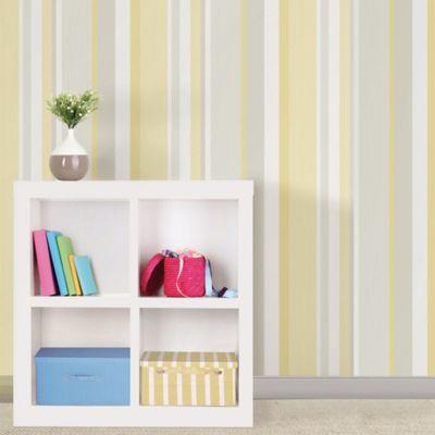 WallPops!® NuWallpaper™ Linen Stripe Peel & Stick Wallpaper in Yellow - Bed Bath & Beyond