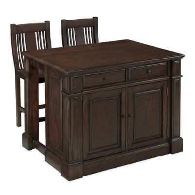 Home Styles Prairie Home 3-Piece Kitchen Island and Stools Set in Black Oak - Bed Bath & Beyond