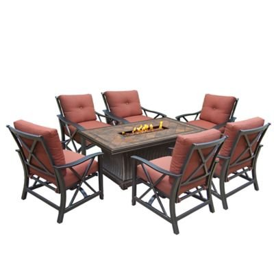 Oakland Living Verona Gas Fire Pit Conversation Set With